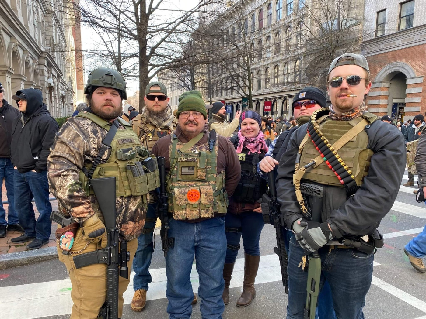 Protesters against gun safety legislation in Richmond on Monday, January 20. (Davis Burroughs / The Dogwood)