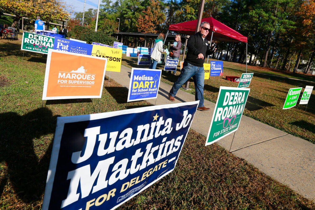 Voters walk through a sea of campaign signs at a polling station in Richmond, Va. (AP Photo/Steve Helber)