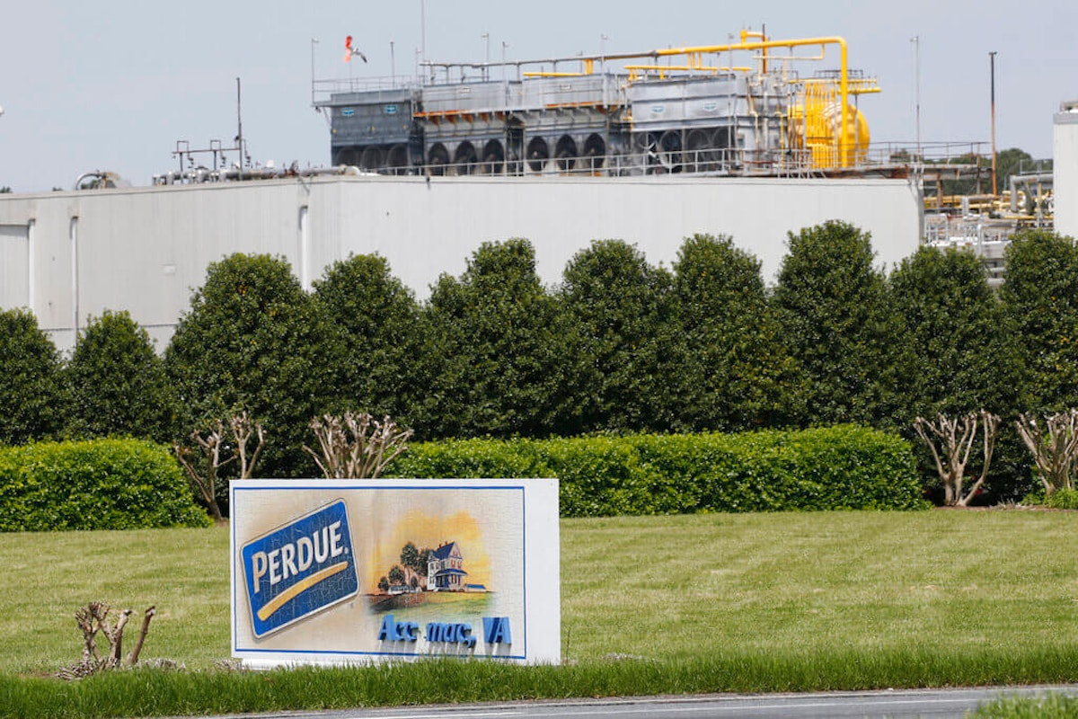 Local hospital officials have reported a spike in COVID-19 cases at the Perdue poultry processing plant on the Eastern Shore Wednesday April 29, 2020, in Accomac, Va. Coronavirus cases among workers at poultry plants on Virginia's Eastern Shore have become an increasing concern for local health officials. (AP Photo/Steve Helber)