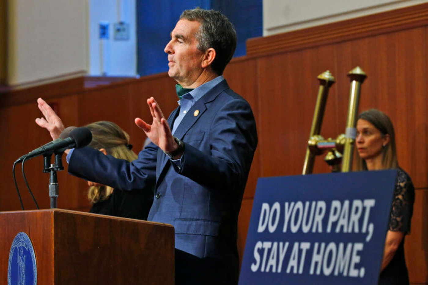 Virginia Gov. Ralph Northam gestures duding a news conference at the Capitol, in Richmond, Va(AP Photo/Steve Helber)
