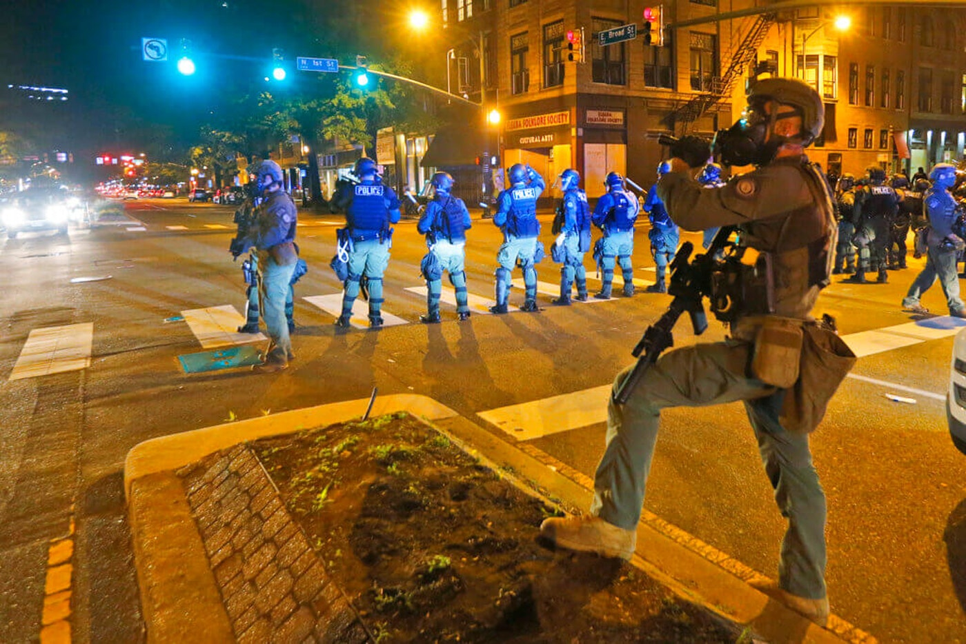 Police secure an intersection in Richmond, Va. Protests continue across the country over the death of George Floyd, a black man who died after being restrained by Minneapolis police officers on May 25. (AP Photo/Steve Helber)