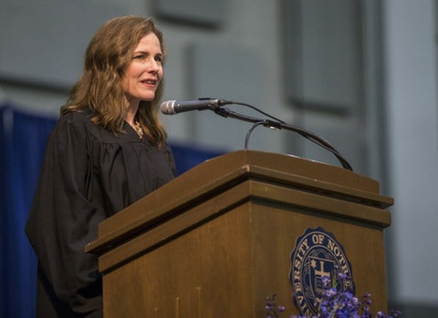 In this May 19, 2018, file photo, Amy Coney Barrett, United States Court of Appeals for the Seventh Circuit judge, speaks during the University of Notre Dame's Law School commencement ceremony at the university, in South Bend, Ind. Barrett, a front-runner to fill the Supreme Court seat vacated by the death of Justice Ruth Bader Ginsburg, has established herself as a reliable conservative on hot-button legal issues from abortion to gun control. (Robert Franklin/South Bend Tribune via AP, File)