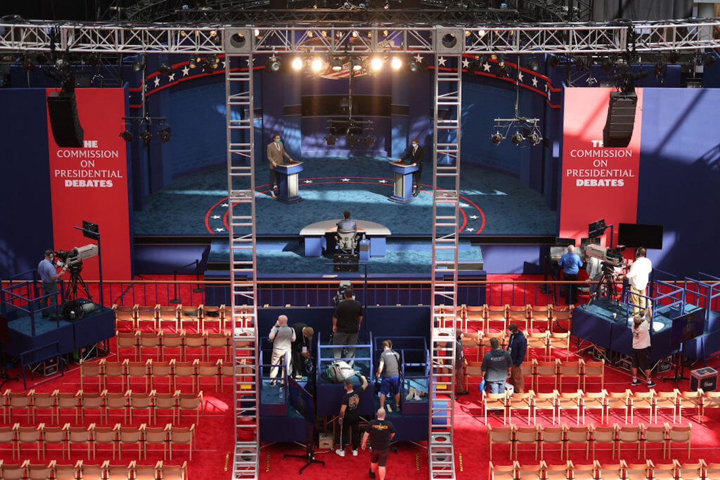 President Trump and Democratic presidential nominee Joe Biden will debate on this stage at Case Western Reserve University and the Cleveland Clinic on September 29, 2020 in Cleveland, Ohio. (Photo by Win McNamee/Getty Images)