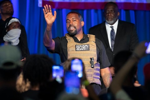 Kanye West makes his first presidential campaign appearance, July 19, 2020 in North Charleston, S.C. (Lauren Petracca Ipetracca/The Post And Courier via AP)