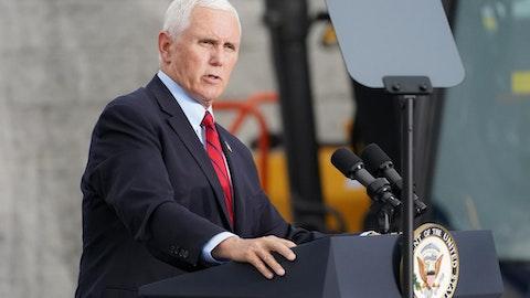 Vice President Mike Pence spoke Thursday at the Virginia Military Institute in Lexington, Virginia (AP Photo/John Minchillo)