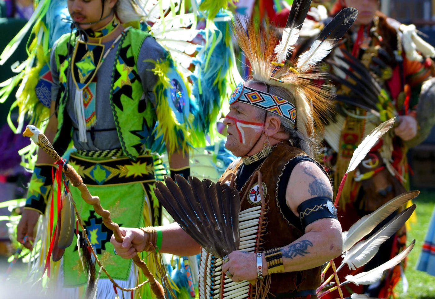 Members of the Mocanan tribe are pictured here at the 2018 Blacksburg Native Spring Pow Wow, taking part in a traditional dance.