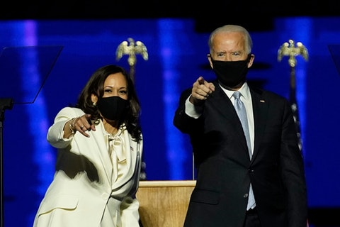 President elect Joe Biden and Vice President elect Kamala Harris deliver their victory speeches in Wilmington, Delaware, on Saturday, Nov. 7.