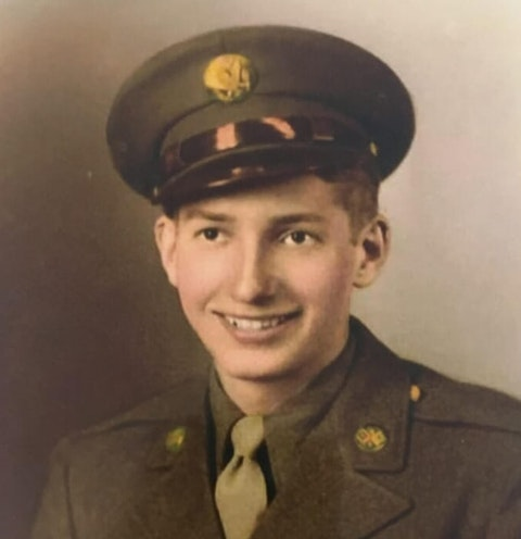 """Cpl. Cawley Richard """"Dick"""" Stine poses in his military uniform. Contributed photo."""