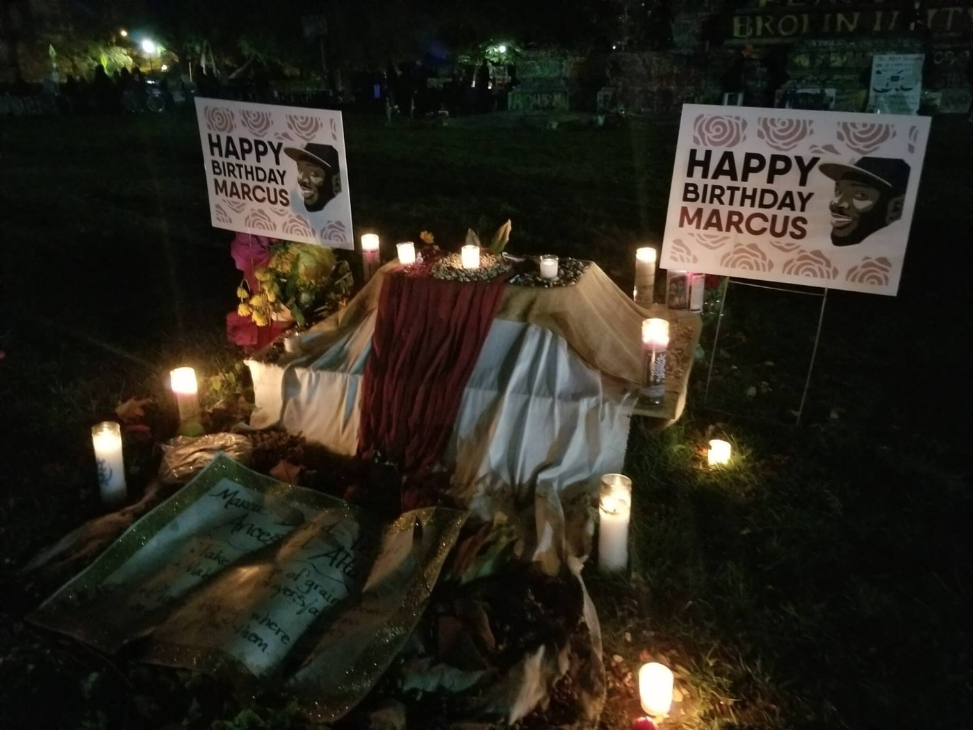 The memorial for Marcus David Peters stays up at the Circle that locals refer to by his name. Dogwood photo by Meg Schiffres.