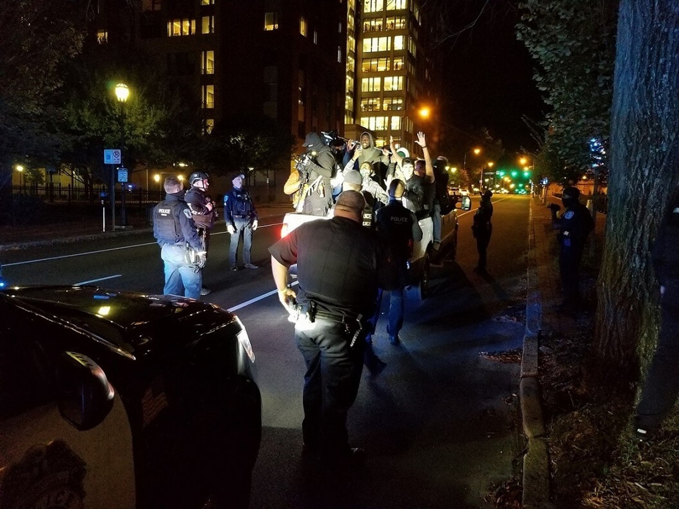 Richmond police pull over members of the local Black Lives Matter chapter on Election Night. Photo by Dogwood's Meg Schiffres.
