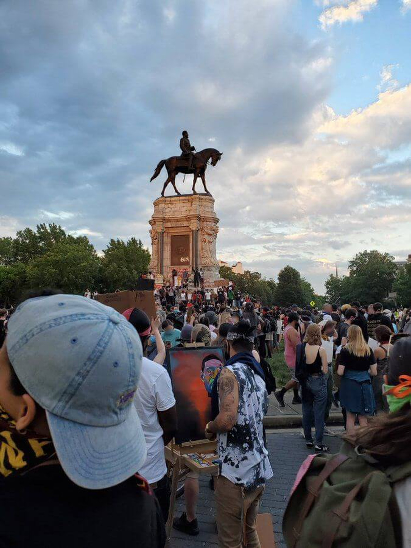 Peaceful protest at Monument Ave