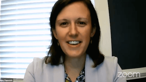 Amy Popovich, nurse manager for the Henrico and Richmond City Health Districts, took to Zoom and Facebook LIVE on Monday, kicking off a new weekly series. Photo by Amie Knowles.
