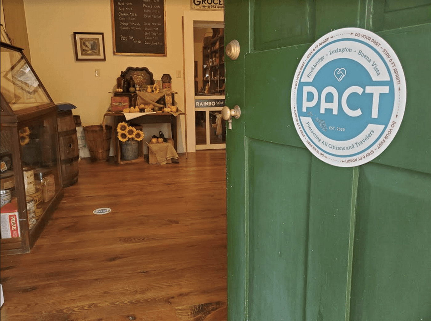 Protecting All Citizens and Travelers (PACT) signs designate businesses that promise to follow Forward Virginia guidelines.  Contributed photo.