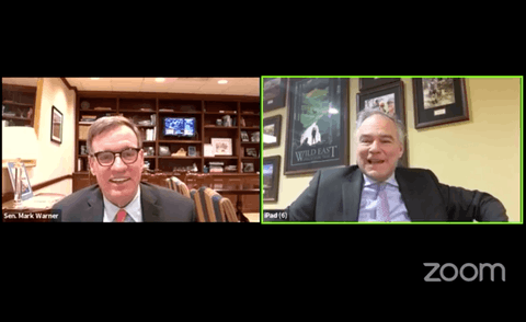 Senators Mark Warner (left) and Tim Kaine participated in a virtual Town Hall on Thursday.