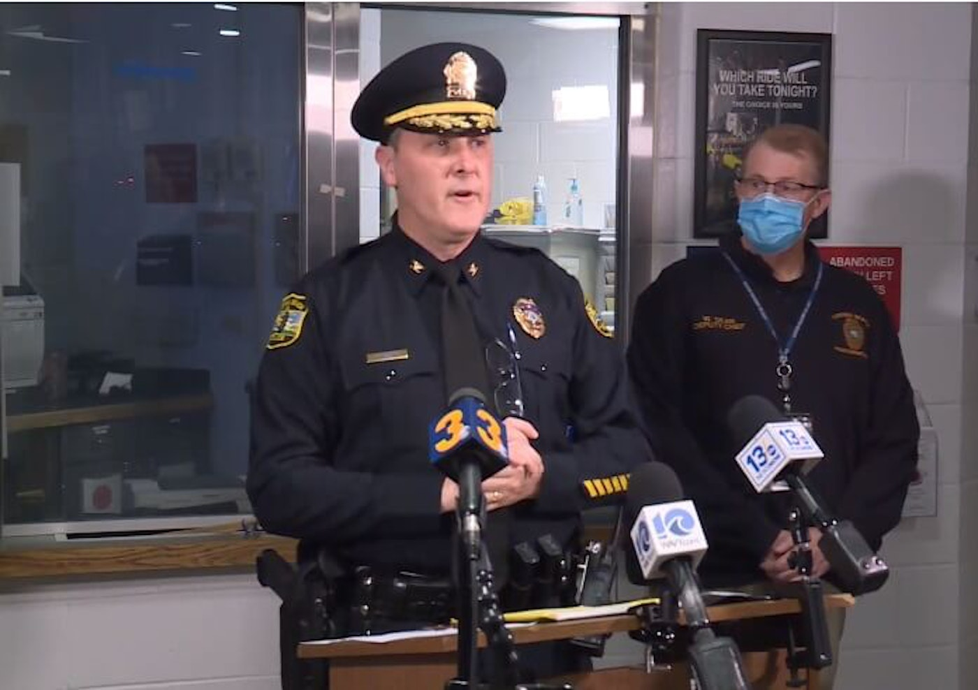 On Saturday night, Virginia Beach Police Chief Paul Neudigate (left) updated the press on the status of the three cases from Friday. Dogwood photo by Brian Carlton.
