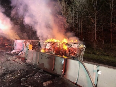 A Look at The Burning Tractor Trailer Full of Paper On I-95