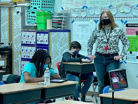 Contributed photo - Rita Browning teaches math class at Laurel Park Middle School.