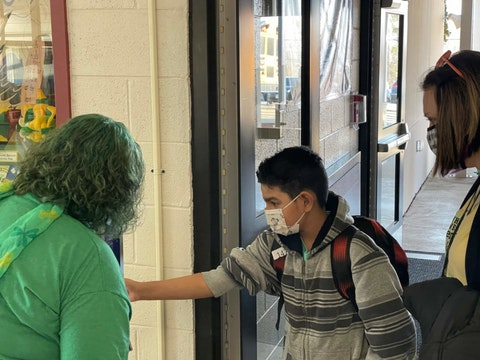Contributed photo - Staff members at Axton Elementary School check students' temperatures daily before entering the classroom.