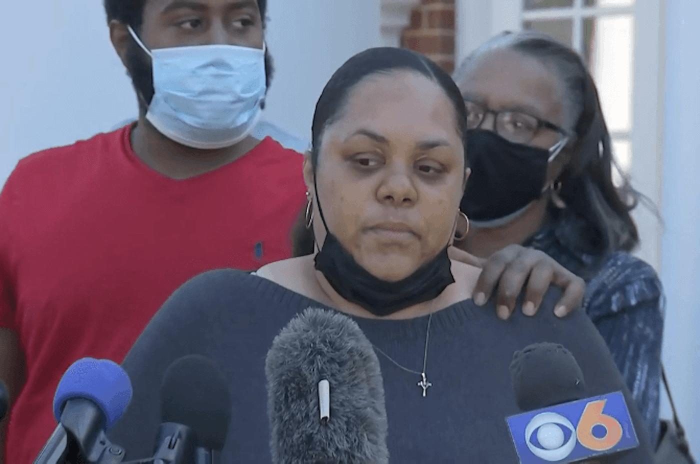 Isaiah Brown's sister Yolanda (center) spoke during Monday's press conference. Photo by Brian Carlton.