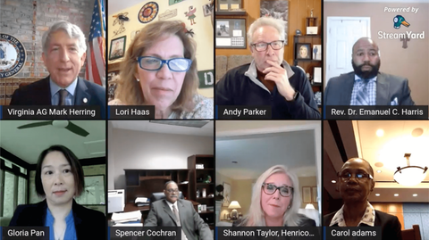 Virginia Attorney General Mark Herring met with a panel of Virginians for a virtual roundtable discussion on gun violence prevention.