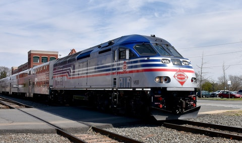 A look at the Virginia Railway Express train at the Manassas Train Station. Photo courtesy of Shutterstock.