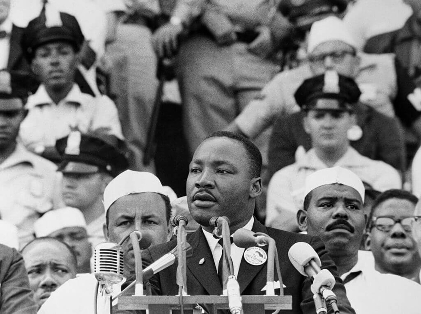 """Martin Luther King Jr., gives his """"I Have a Dream"""" speech to a crowd before the Lincoln Memorial during the Freedom March in Washington, DC, on August 28, 1963. The widely quoted speech became one of his most famous."""