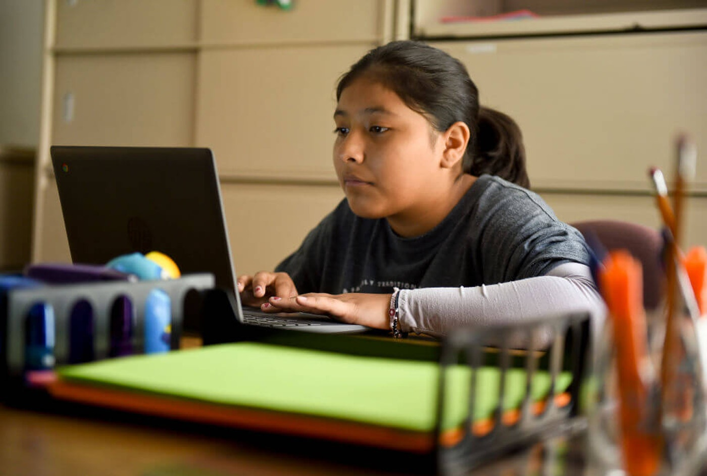 Student attending virtual school