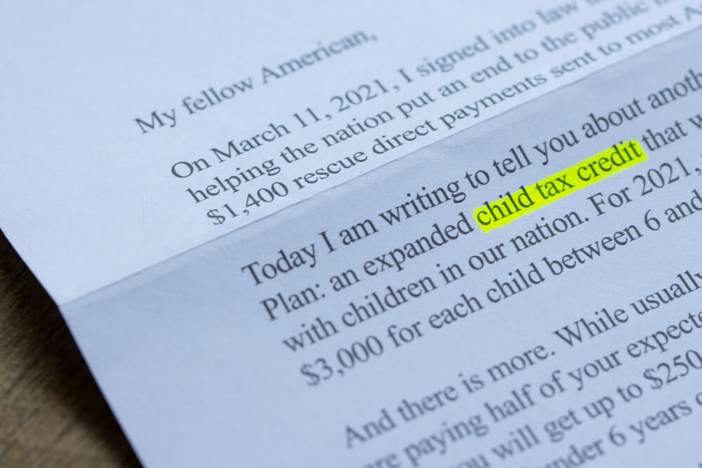 Biden letter on the child tax credit