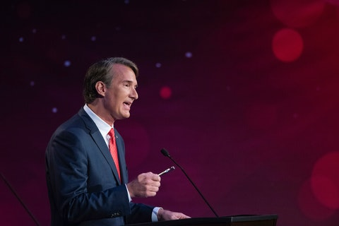 Virginia republican gubernatorial candidate Glenn Youngkin, participates in a  debate with democratic gubernatorial candidate former Governor Terry McAuliffe at Northern Virginia Community College, in Alexandria, Va., Tuesday, Sept. 28, 2021. (AP Photo/Cliff Owen)