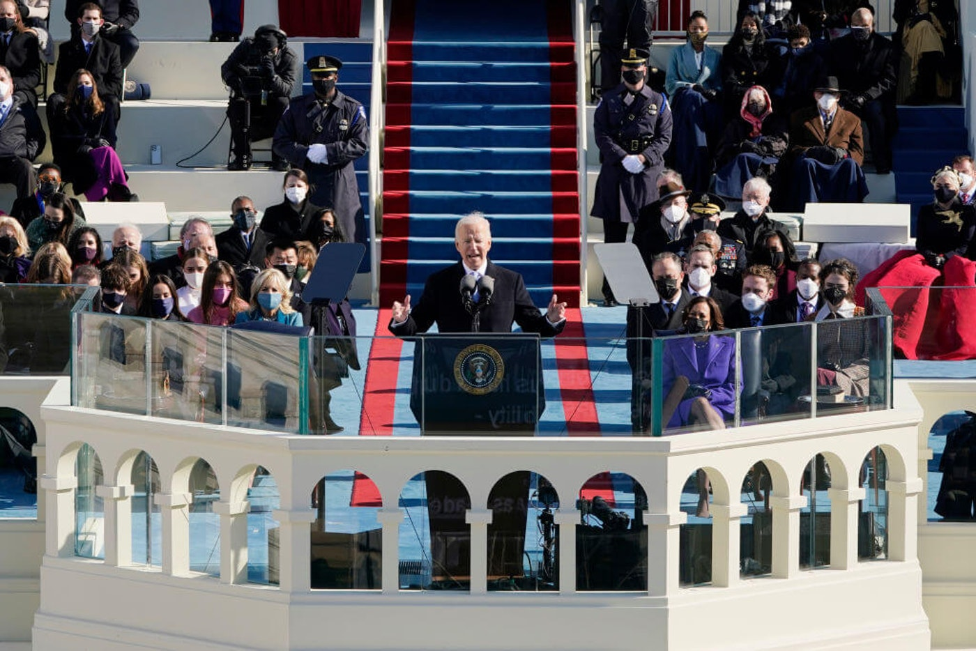 President Joe Biden speaks during the the 59th inaugural ceremony on the West Front of the U.S. Capitol on January 20, 2021 in Washington, DC.  During today's inauguration ceremony Joe Biden becomes the 46th president of the United States. (Photo by Patrick Semansky-Pool/Getty Images)