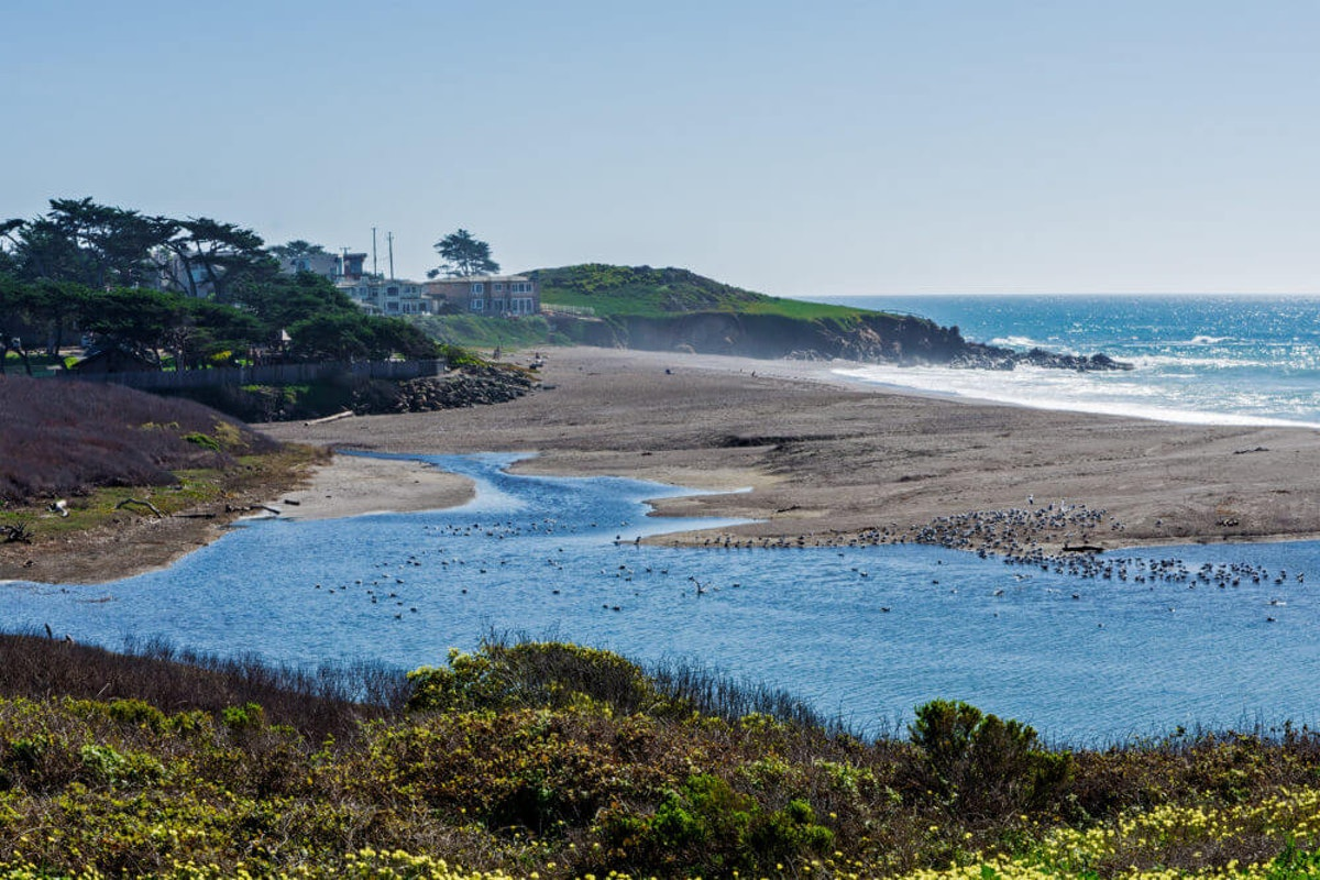 Park Hill and Santa Rosa Creek Estuary California Central Coast near Cambria CA on the Big Sur Highway (Shutterstock)