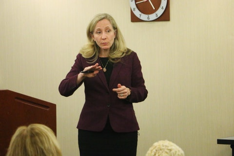 Rep. Abigail Spanberger (D-Va.) talks to constituents about drug prices.