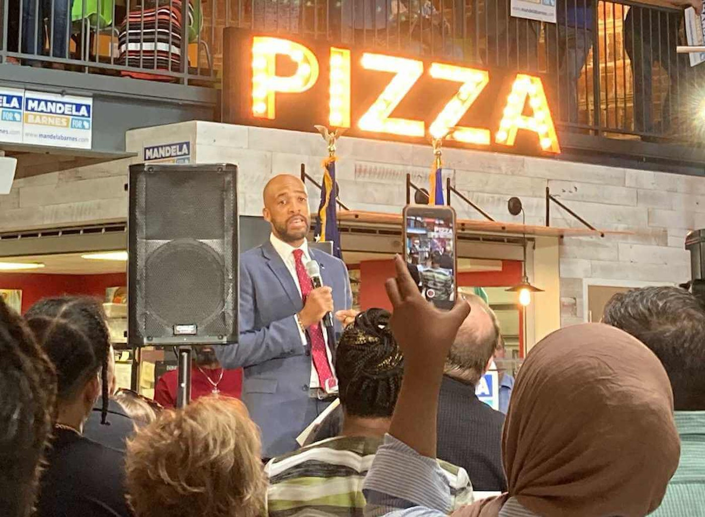 Lt. Gov. Mandela Barnes speaks at his US Senate campaign launch event July 20, 2021, in Milwaukee. (Photo by Olivia Stern)