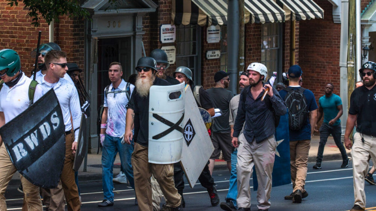 People at a Neo-Nazi rally and counter-protest in Charlottesville in 2017