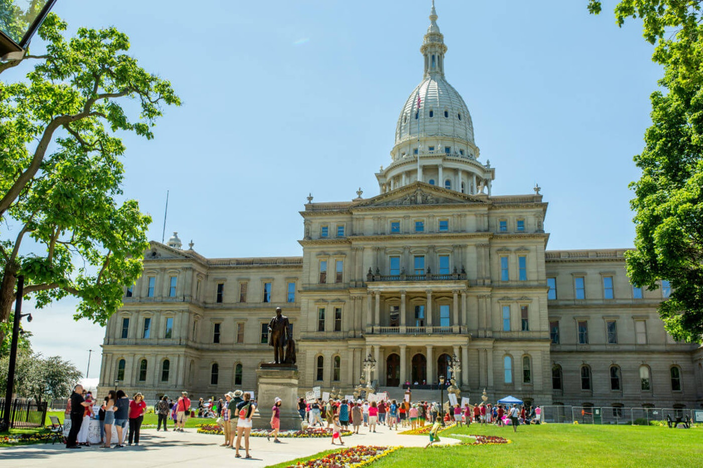 A pro-choice rally held at Michigan's state capitol building in 2019. Image via Shutterstock