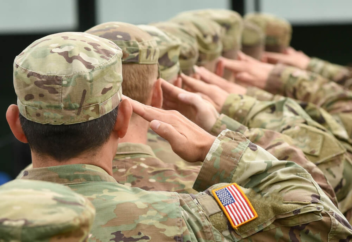 Soldiers giving a salute
