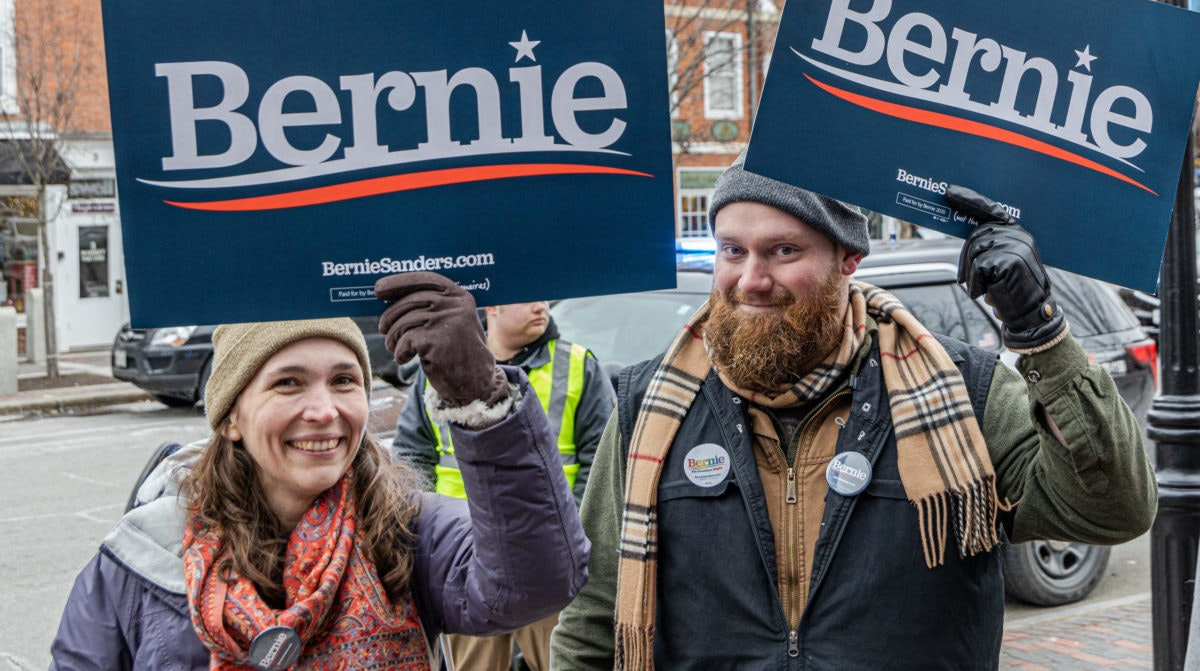 Sanders supporters in New Hampshire | Image via Shutterstock