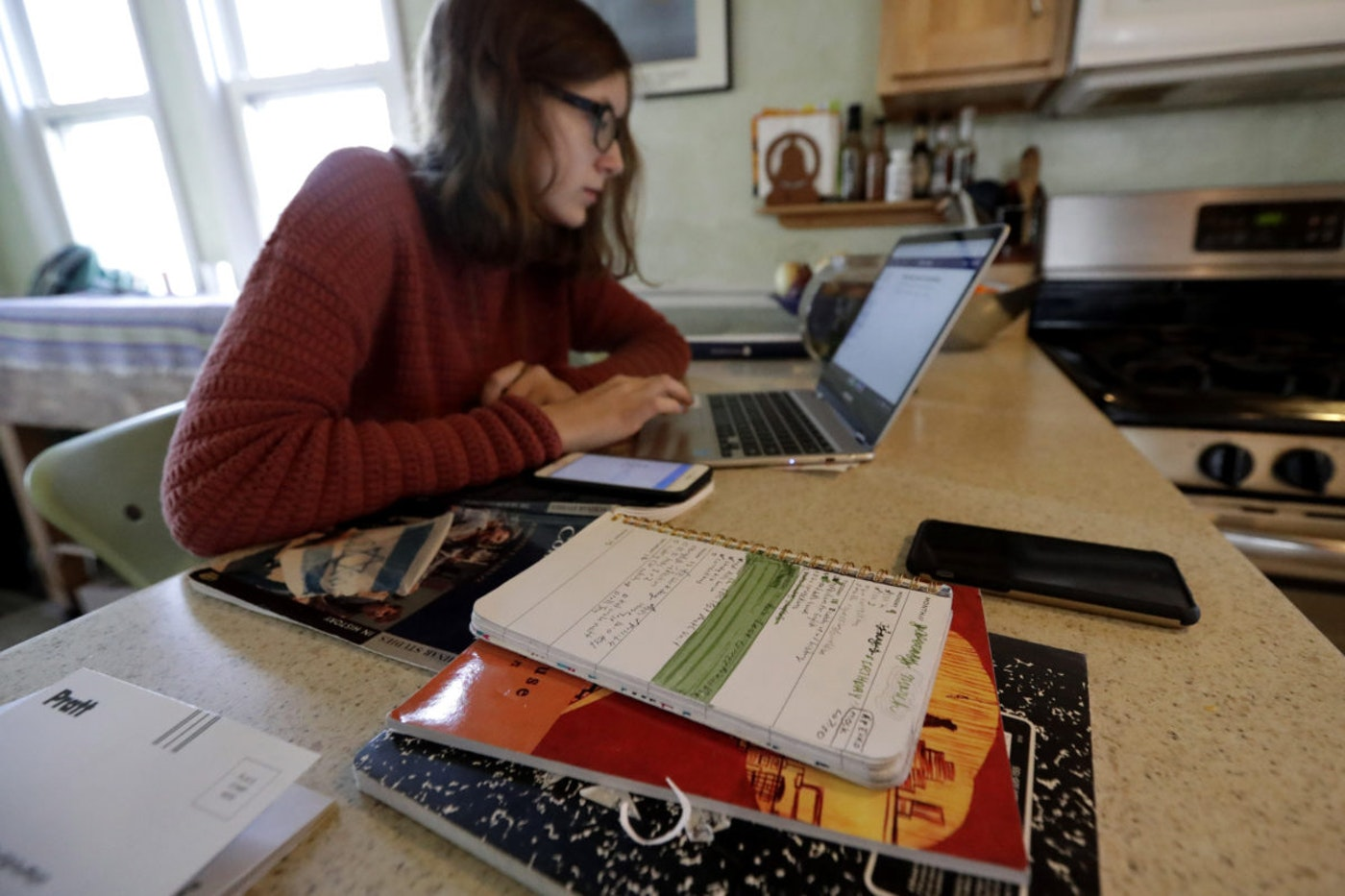 Olivia Marton, an 11th grader at Lincoln Park High School, studies school work with her computer at her home in Chicago. AP Photo/Nam Y. Huh