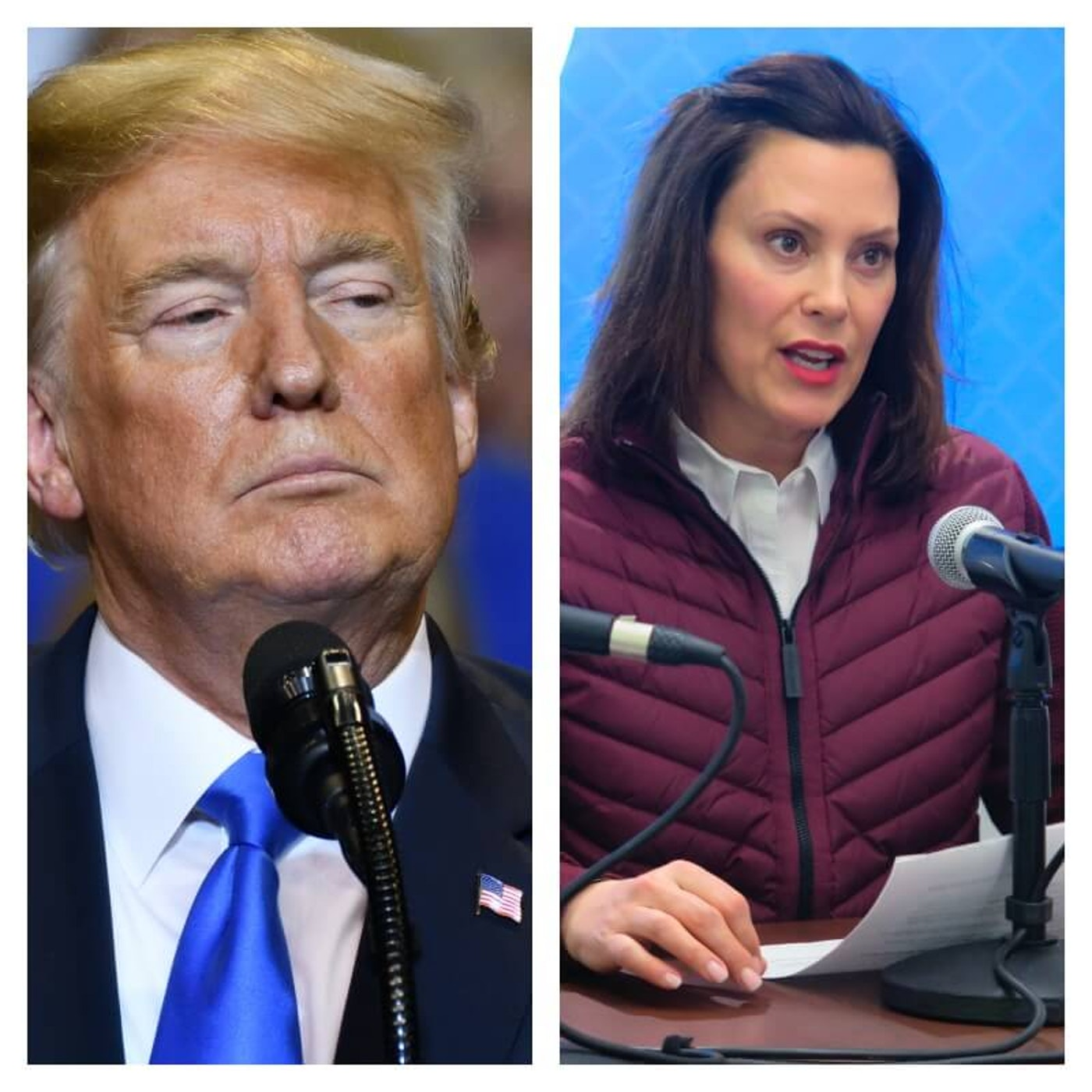 Trump photo via Shutterstock, Whitmer photo by AP Photo/David Eggert