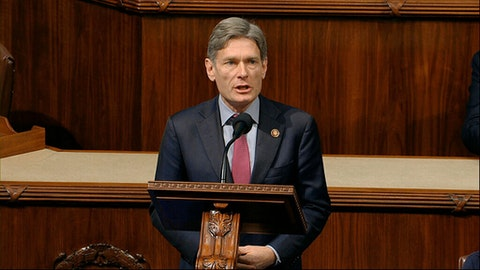 Rep. Tom Malinowski, D-N.J., speaks as the House of Representatives debates the articles of impeachment against President Donald Trump at the Capitol in Washington, Wednesday, Dec. 18, 2019. (House Television via AP)