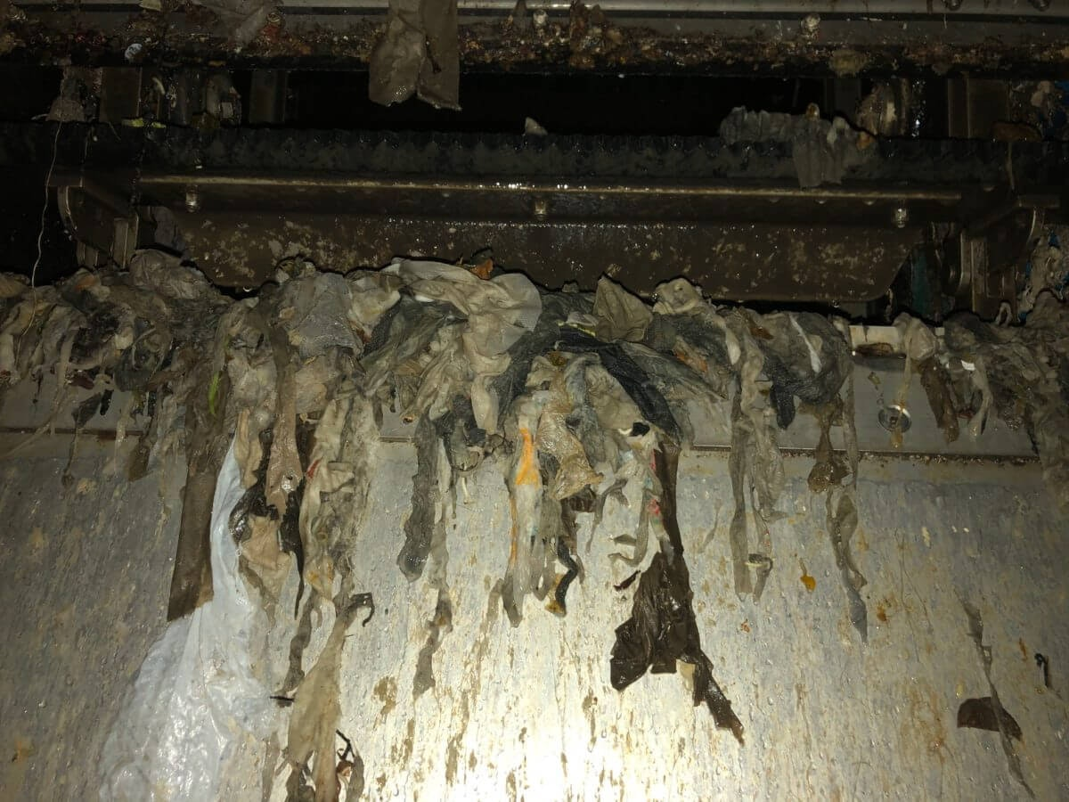Dirty wipes and debris surround the inner workings of the Warren Water Recovery Facility. Photo courtesy of Bryan Clor