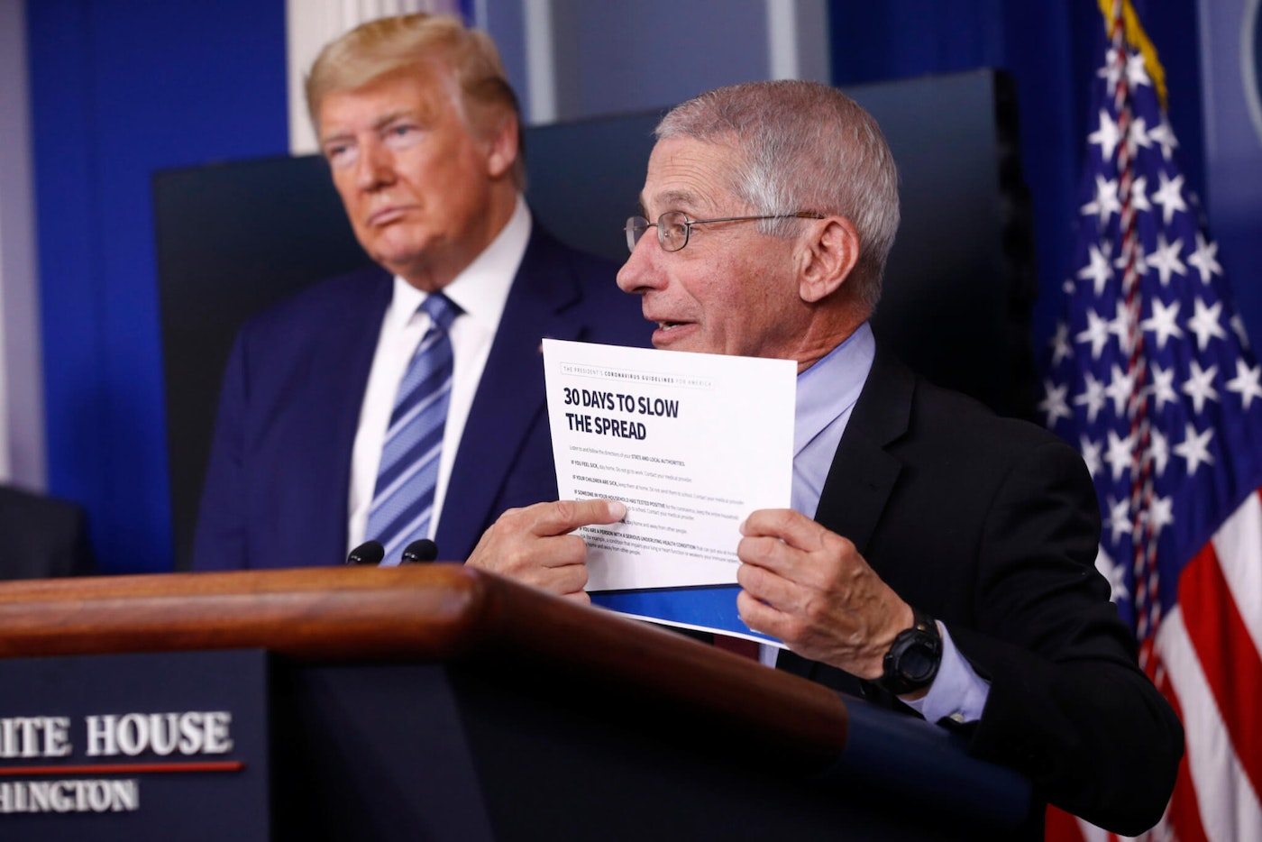 President Donald Trump listens as Director of the National Institute of Allergy and Infectious Diseases Dr. Anthony Fauci speaks. (AP Photo/Patrick Semansky)