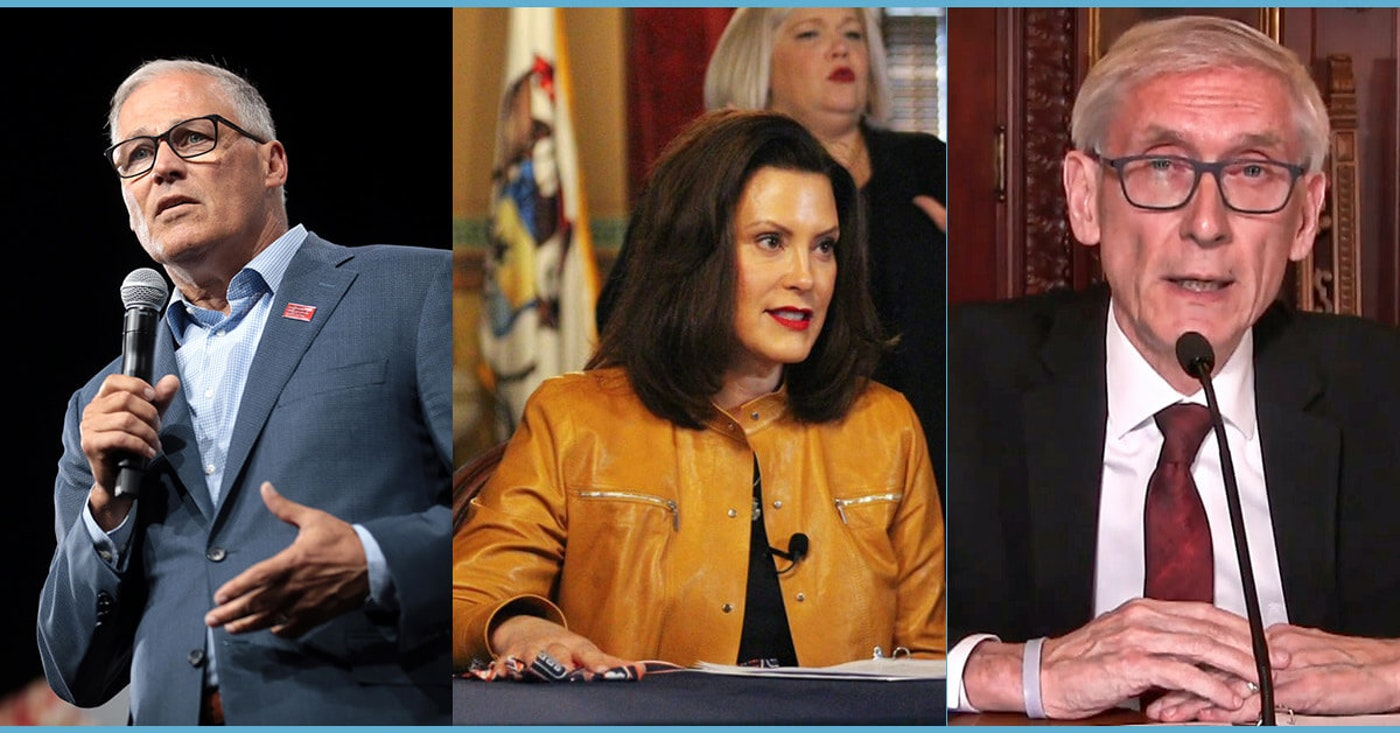 Image of Inslee via Gage Skidmore; image of Whitmer courtesy of governor's office; image of Evers via screengrab