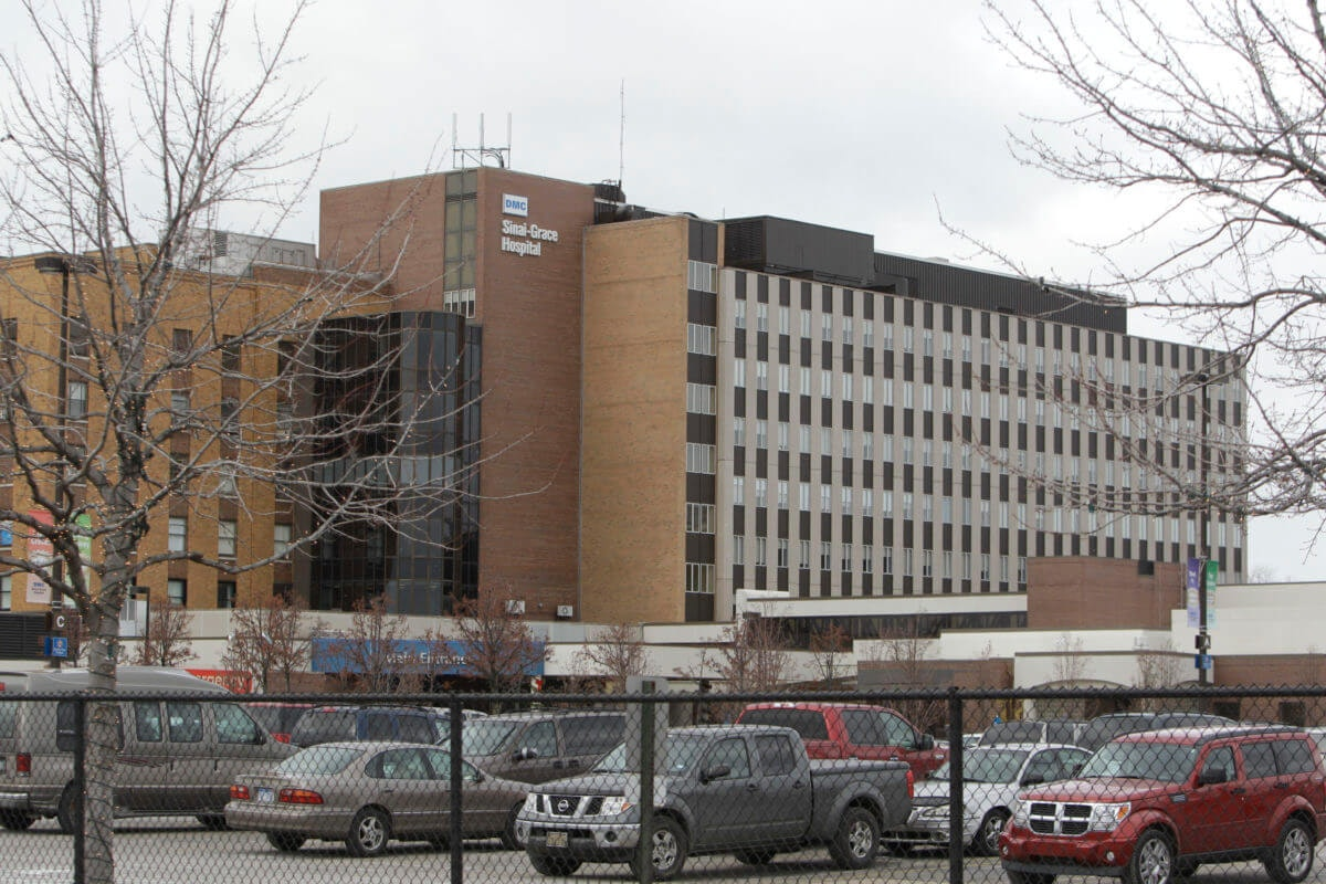 Exterior view of Sinai Grace Hospital in Detroit, Monday, Dec. 6, 2010. (AP Photo/Carlos Osorio)