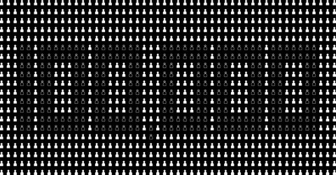 The number of figures (1000) illustrates just 1% of the official count of people who've died from COVID-19. Graphic via Desirée Tapia for COURIER