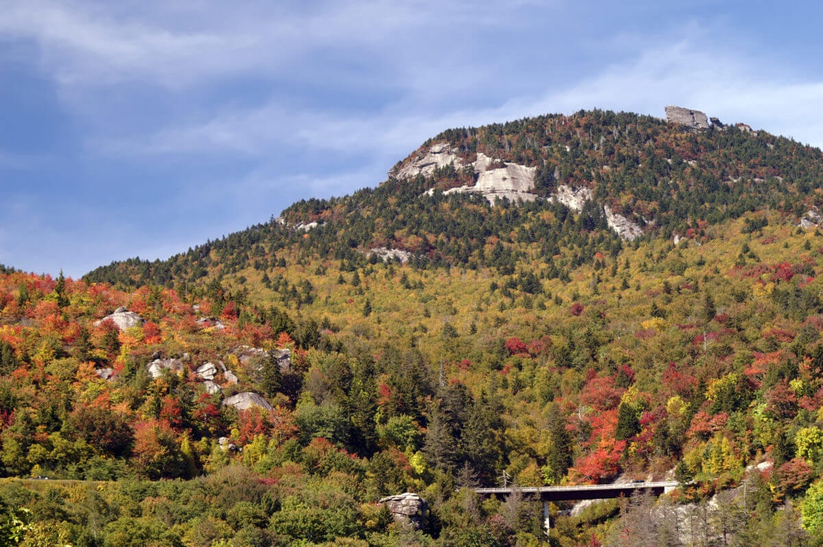 The view of Grandfather Mountain from Beacon Heights Trail in Avery County. (Image via Shutterstock).
