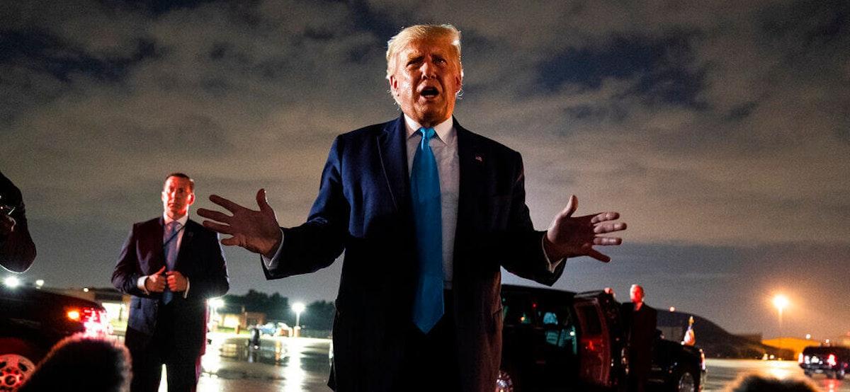 President Donald Trump returns to the White House after visiting outside St. John's Church, Monday, June 1, 2020, in Washington. (AP Photo/Patrick Semansky)