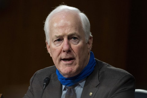 Sen. John Cornyn, R-Texas, speaks during a Senate Finance Committee hearing on the FDA foreign drug manufacturing inspection process on Capitol Hill in Washington, Tuesday, June 2, 2020. (Andrew Caballero-Reynolds/Pool via AP)