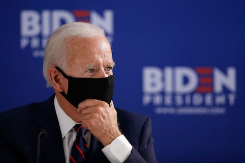 Democratic presidential candidate, former Vice President Joe Biden pauses during a roundtable on economic reopening with community members, Thursday, June 11, 2020, in Philadelphia. (AP Photo/Matt Slocum)
