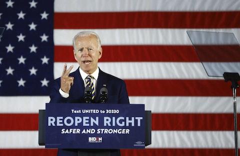 Democratic presidential candidate, former Vice President Joe Biden speaks, Wednesday, June 17, 2020, in Darby, Pa. (AP Photo/Matt Slocum)